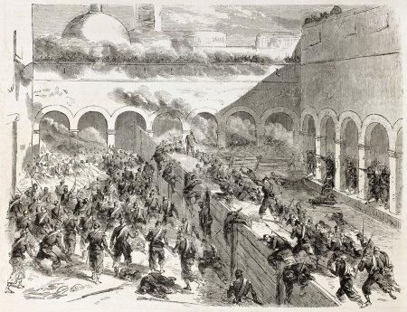 Photo pour Français d'intervention au Mexique : bataille de puebla. créé par godefroy-durand, publié sur l'illustration, journal universel, paris, 1863 - image libre de droit