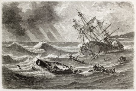 Monitor shipwreck old illustration in front of Cap...