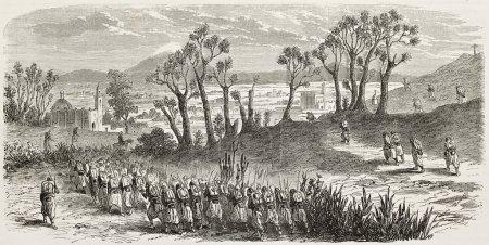 Photo pour Ancienne vue de tepeaca, au Mexique et français troupes marchant vers lui. créé par gaildrau, publié sur l'illustration, journal universel, paris, 1863 - image libre de droit