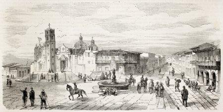 Photo pour Rue de Belem à Xalapa vieille vue, Mexique. Créé par Rouargue, publié sur L'Illustration, Journal Universel, Paris, 1863 - image libre de droit