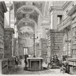 Old illustration of Palais Bourbon library, Paris....
