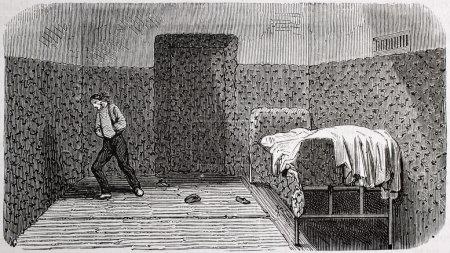 Photo pour Illustration antique d'une chambre rembourrée à l'hôpital psychiatrique Sainte Anne, Paris. Créé par Gaildrau, publié sur L'Illustration, Journal Universel, Paris, 1868 - image libre de droit
