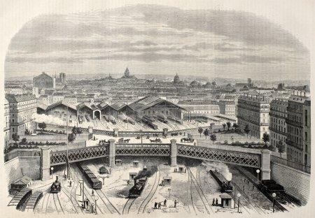 Photo pour Antique illustration du pont de fer à la place de l'europe place de leurope dans la gare de l'Ouest créée par lamy, publiés sur l'illustration, journal universel, paris, 1868 - image libre de droit