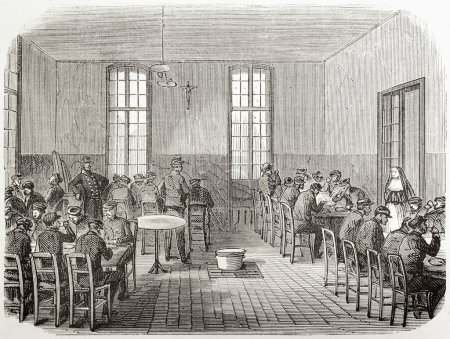 Photo for Old illustration of refectory in Sainte Anne asylum, Paris. Created by Gaidrau and Cosson-Smeeton, published on L'Illustration, Journal Universel, Paris, 1868 - Royalty Free Image