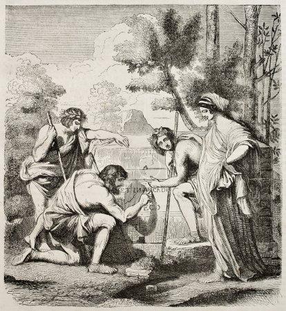 Les Bergers dArcadie Arcadia sheperds engraved rep...