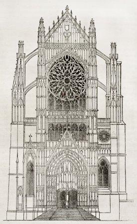 Photo pour Cathédrale de Beauvais, portail latéral, vieille illustration. Auteur non identifié, publié sur Magasin Pittoresque, Paris, 1840 - image libre de droit