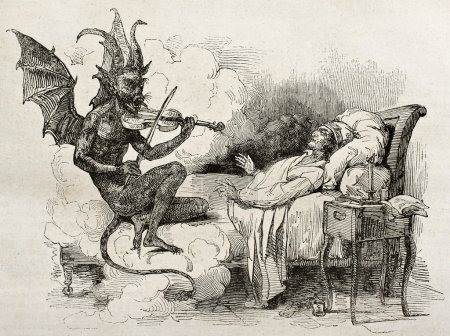 Photo for Tartini dream old illustration: Famous composer and violinist of the Republic of Venice Created by J Bolly after Boilly father, published on Magasin Pittoresque, Paris, 1840 - Royalty Free Image