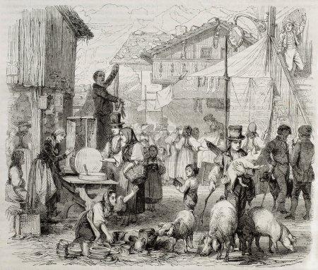 Photo pour Ancienne illustration de la foire de Brienz, dans le canton suisse de Berne. Créé par Girardet, publié sur Magasin Pittoresque, Paris, 1850 - image libre de droit