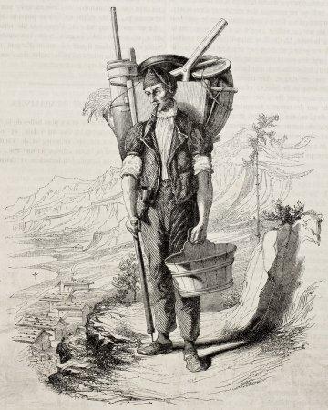 Photo pour Ancienne illustration du fromager suisse du lac Brienz, dans l'Oberland bernois. Créé par Vapin, publié sur Magasin Pittoresque, Paris, 1850 - image libre de droit