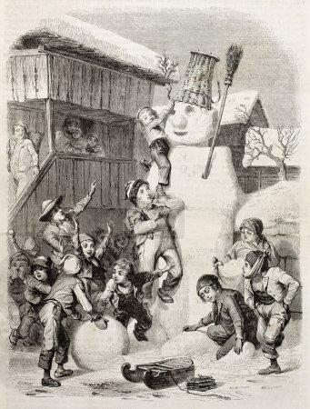 Photo pour Des enfants du village de Brienz (Suisse) font un très grand bonhomme de neige et jouent avec. Créé par Girardet (sculp. Best, Hotelin et Regnier), publié sur Magasin Pittoresque, Paris, 1850 - image libre de droit