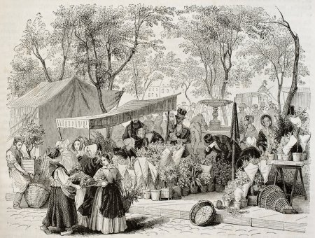 Photo for Flower market old illustration, Paris. Created by Girardet, published on Magasin Pittoresque, Paris, 1842 - Royalty Free Image