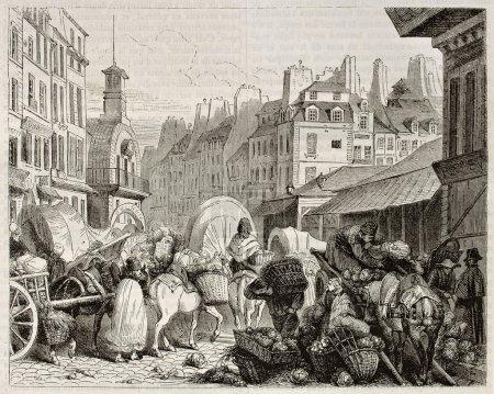Photo pour Vue ancienne de les halles, paris. créé par girardet, publié le magasin pittoresque, paris, 1842 - image libre de droit