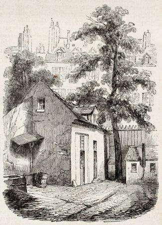 Photo pour La maison où Blaise Pascal est mort rue Neuve-Saint-Etienne, Paris. Créé par Durond, publié sur Magasin Pittoresque, Paris, 1845 - image libre de droit