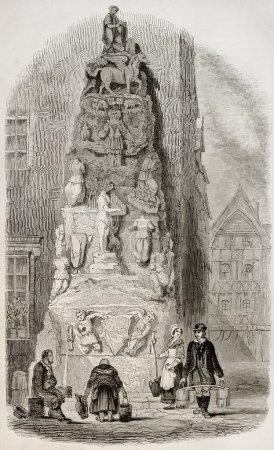 Photo pour Fontaine Hôtel de Lisieux à Rouen, rue de la Savonnerie, 4. Auteur non identifié, publié sur Magasin Pittoresque, Paris, 1845 - image libre de droit
