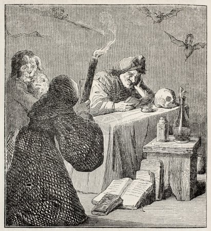 Witch old illustration. After painting of Teniers ...