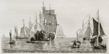Photo pour Vaisseaux hollandais et bateaux dans le port d'amsterdam. créé par colignon, publié le magasin pittoresque, paris, 1844 - image libre de droit