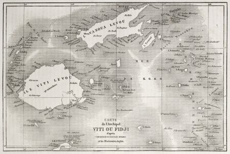 Old map of Fiji islands. Created by Erhard and Bon...