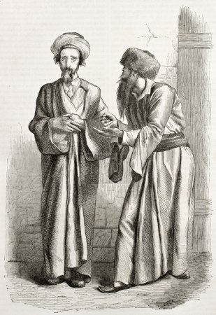 Old illustration of Jews in Jerusalem. Created by ...