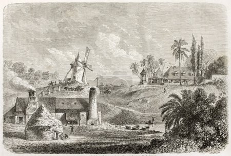 Sugar factory in Guadeloupe, old illustration. Cre...