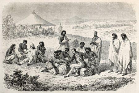Photo pour Ancienne illustration d'arrêt lejan guillaume sur ordre de l'empereur tewodros. créé par janet-lange et trichon, après les croquis de lejean, publié sur le tour du monde, paris, 1864 - image libre de droit