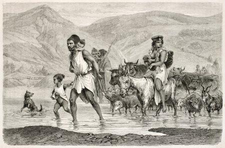 Photo pour Famille algérienne traversant le ruisseau en Kabylie. Créé par Dohousset, publié sur Le Tour du Monde, Paris, 1867 - image libre de droit
