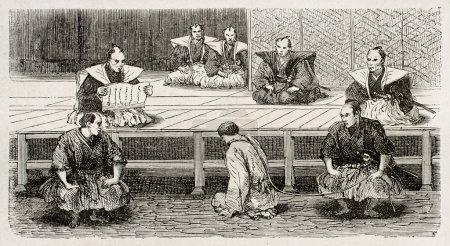 Photo pour Accusé devant son acte d'accusation lors d'un procès japonais. Créé par Crepon, publié sur Le Tour Du Monde, Ed. Hachette, Paris, 1867 - image libre de droit