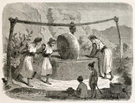 Photo pour Moulin à huile en illustration ancienne de Kabylie, Algérie. créé par arrêt après duhousset, publié sur le tour du monde, paris, 1867 - image libre de droit