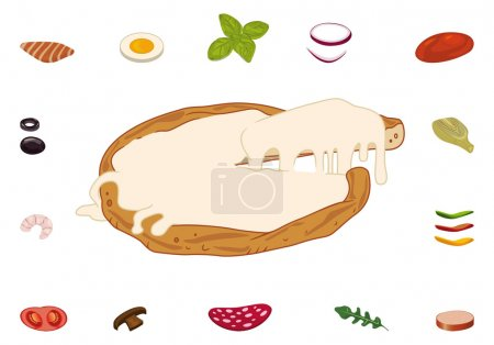 Illustration for Sliced pizza and ingredients for custom recipes - Royalty Free Image