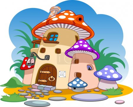 illustration of red mushroom house on a blue