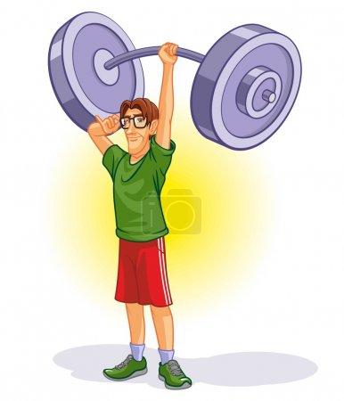 Illustration pour Caricature Haltérophilie - image libre de droit