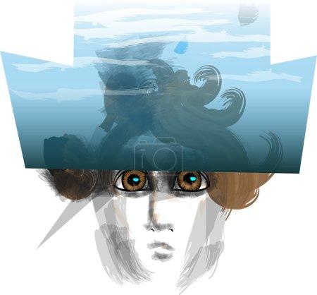 Illustration pour Tête d'une créature inconnue regardant hors de sous un plan d'eau sous la forme de chapeaux - image libre de droit