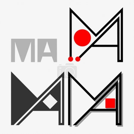 Writing M and A, MA Letters Emblem Illustration
