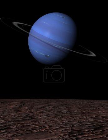 The planet Neptune rising over Triton...