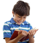 Smiling boy reads book
