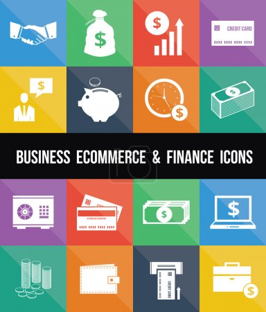 Illustration pour Élégant Business Ecommerce Banque et Finance Icônes d'argent Set - image libre de droit