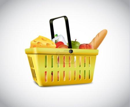 Illustration pour Panier en plastique avec de la nourriture - image libre de droit