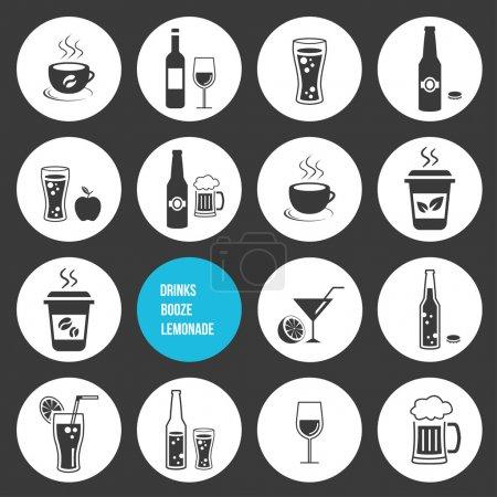 Illustration pour Ensemble d'icônes de boissons vectorielles - image libre de droit