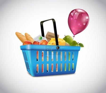 Illustration pour Panier en plastique bleu avec de la nourriture - image libre de droit