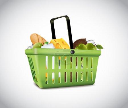 Illustration pour Panier en plastique vert avec de la nourriture - image libre de droit