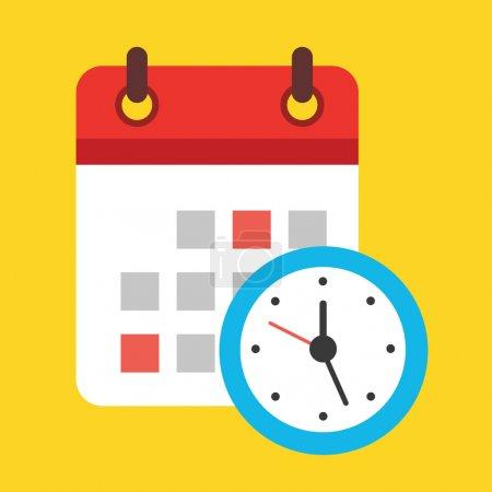 Vector Calendar and Clock Icon