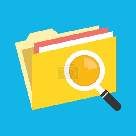 Illustration for Vector Folder Search Icon - Royalty Free Image