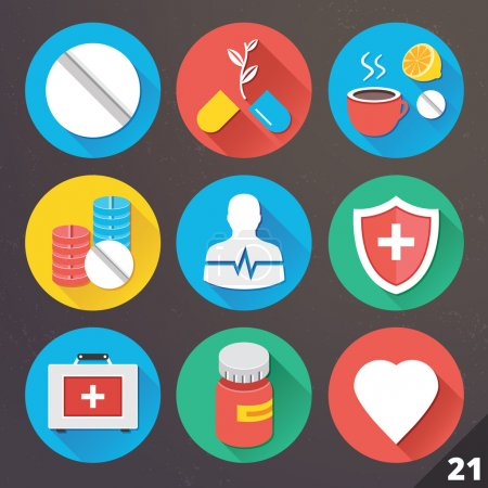 Illustration for Vector Icons for Web and Mobile Applications. Set 21. - Royalty Free Image