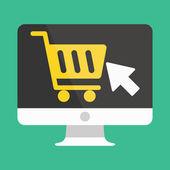 Vector Computer Display Buy Online Icon Ecommerce Concept