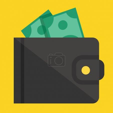 Illustration pour Portefeuille vectoriel et icône d'argent - image libre de droit