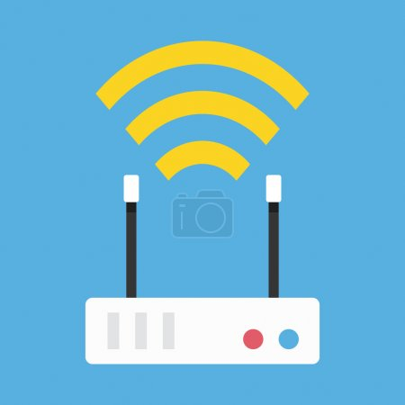 Illustration for Vector Wireless Network Router Icon - Royalty Free Image