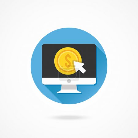 Illustration for Vector Computer Display Pay per Click Icon - Royalty Free Image