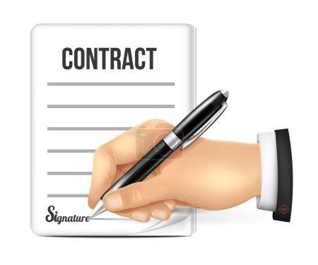 Illustration pour Signes de main Contrat - image libre de droit