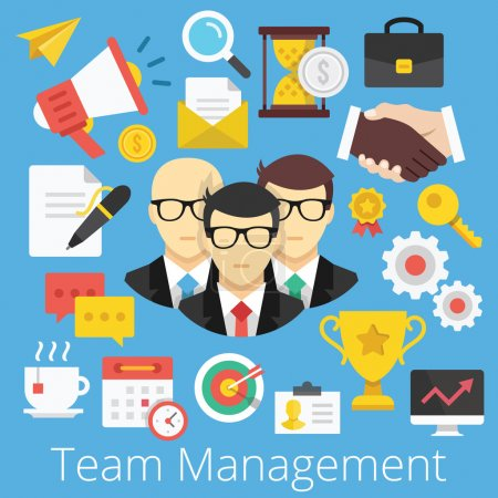 Illustration for Vector Set of Flat Design Icons Illustrations for Team Management - Royalty Free Image