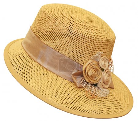 Photo for Hand-made ​​straw hat decorated with dried flowers - Royalty Free Image
