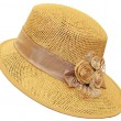 Hand-made straw hat decorated with dried flo...